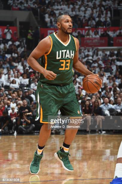 Boris Diaw of the Utah Jazz handles the ball against the LA Clippers in Game Five of the Western Conference Quarterfinals of the 2017 NBA Playoffs on...