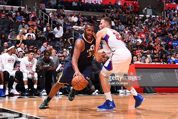 Boris Diaw of the Utah Jazz handles the ball against the Los Angeles Clippers during a preseason game on October 10 2016 at STAPLES Center in Los...