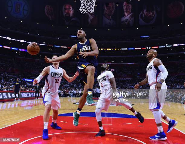 Boris Diaw of the Utah Jazz passes off from Blake Griffin Raymond Felton and Marreese Speights of the LA Clippers during the first half at Staples...