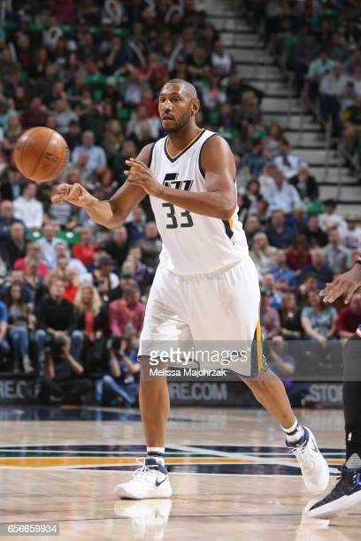 Boris Diaw of the Utah Jazz passes the ball against the New York Knicks on March 22 2017 at vivintSmartHome Arena in Salt Lake City Utah NOTE TO USER...