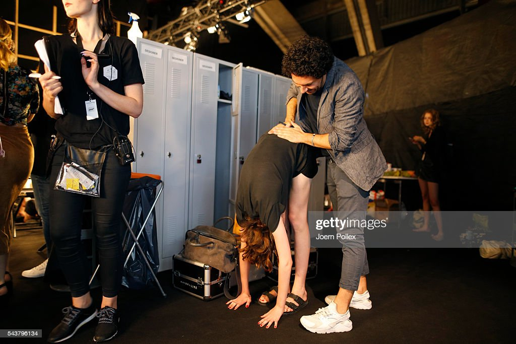 <a gi-track='captionPersonalityLinkClicked' href=/galleries/search?phrase=Boris+Entrup&family=editorial&specificpeople=4102117 ng-click='$event.stopPropagation()'>Boris Entrup</a> and a Model are seen backstage ahead of the Lena Hoschek show during the Mercedes-Benz Fashion Week Berlin Spring/Summer 2017 at Erika Hess Eisstadion on June 30, 2016 in Berlin, Germany.