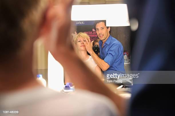 Boris Entrup and Karen Heinrichs seen backstage at the Guido Maria Kretschmer Show during the Mercedes Benz Fashion Week Spring/Summer 2011 at Hotel...