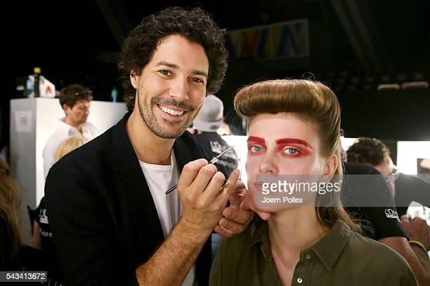 Boris Entrup is seen backstage ahead of the Thomas Hanisch show during the MercedesBenz Fashion Week Berlin Spring/Summer 2017 at Erika Hess...