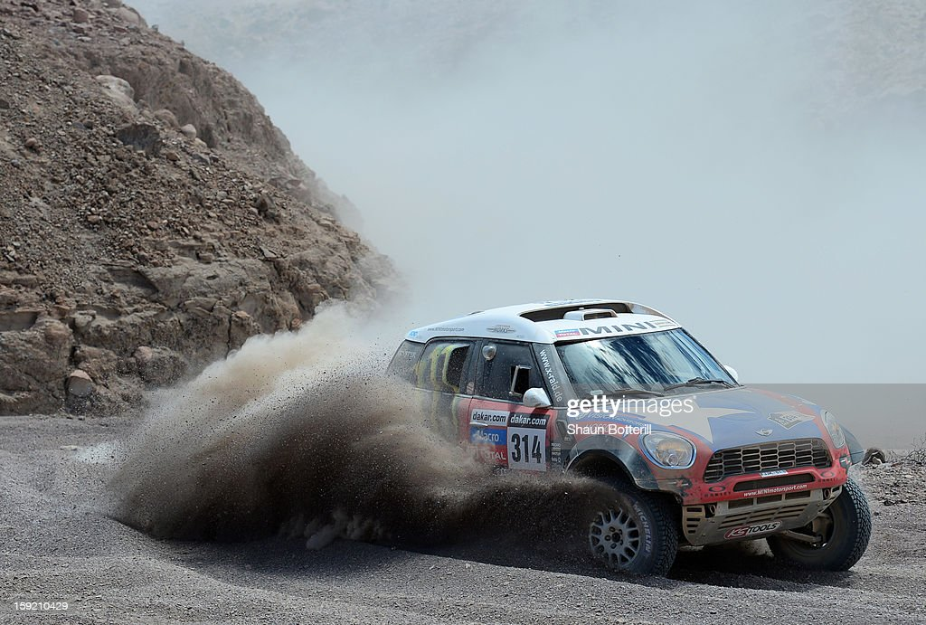 Boris Garafulic and co-pilot Gilles Picard of team Mini compete in stage 5 from Arequipa to Arica during the 2013 Dakar Rally on January 9, 2013 in Arequipa, Peru.