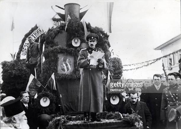 Boris III King of Bulgaria 191843 Shown dedicating at railway Undated Photograph