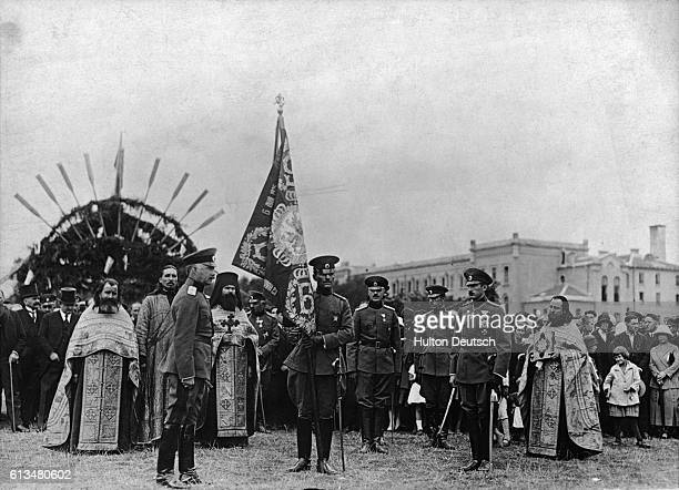 Boris III King of Bulgaria attends an inauguration ceremony in the presence of Bulgarian ministers and clergy at Sofia's military school