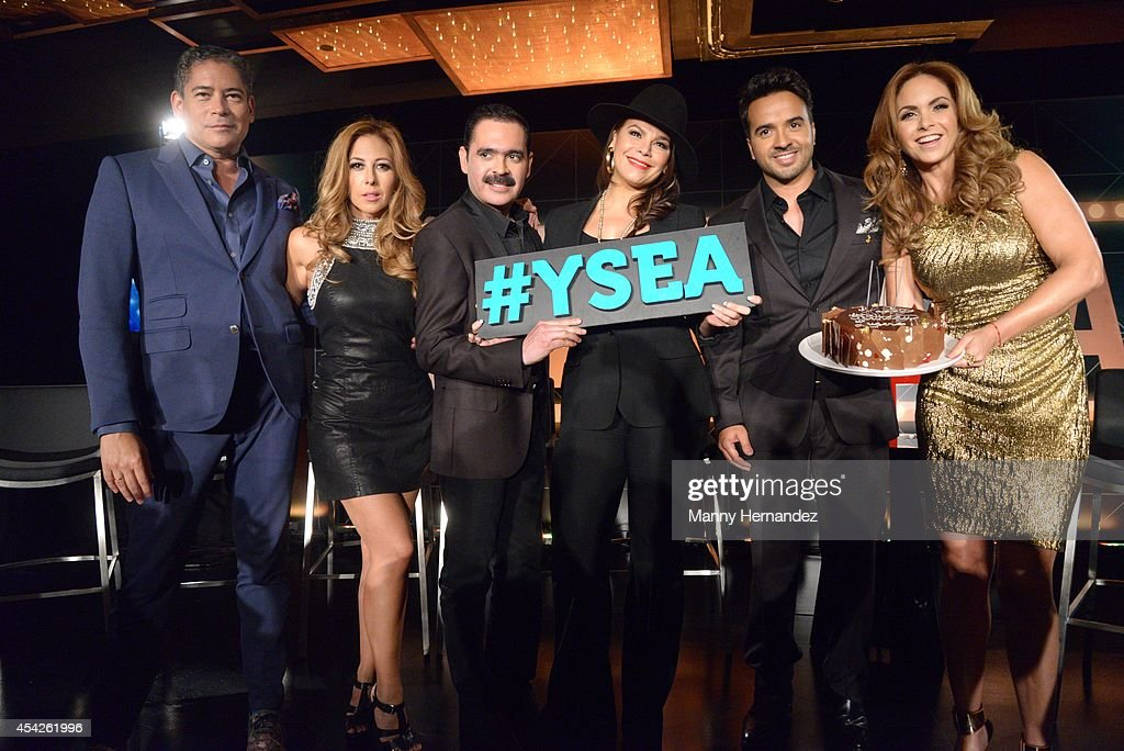 Boris Izaguirre, Stephanie Himonidis Chiquibaby, Mario Quintero Lara, Olga Tanon, Luis Fonsi and Lucero attends Telemundo press conference for Yo Soy El Artista(I Am The Artist) at the W South Beach at W Hotel on August 27, 2014 in Miami, Florida.