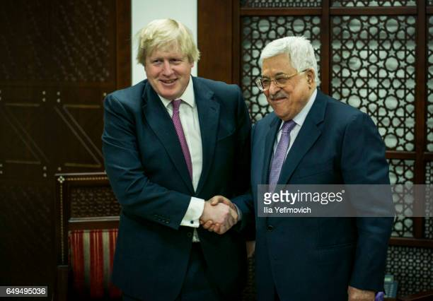 Boris Johnson British Foreign Secretary meets with Palestinian President Mahmoud Abbas on March 8 2017 in Ramallah West Bank Mr Johnson is on an...
