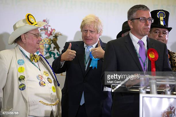 Boris Johnson Conservative candidate for Uxbridge celebrates on stage his win as he attends the count at Brunel University London on May 8 2015 in...