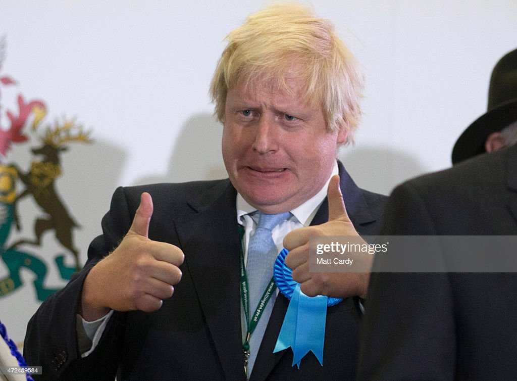 <a gi-track='captionPersonalityLinkClicked' href=/galleries/search?phrase=Boris+Johnson&family=editorial&specificpeople=209016 ng-click='$event.stopPropagation()'>Boris Johnson</a>, Conservative candidate for Uxbridge celebrates on stage following his win as he attends the count at Brunel University London on May 8, 2015 in Uxbridge, England. The United Kingdom has gone to the polls to vote for a new government in one of the most closely fought General Elections in recent history. With the result too close to call it is anticipated that there will be no overall clear majority winner and a coalition government will have to be formed once again.