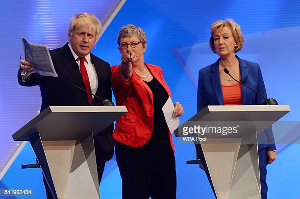 Boris Johnson Gisela Stuart and Andrea Leadsom arrive for the EU debate at Wembley Arena on June 21 2016 in London England Tonight the BBC is hosting...