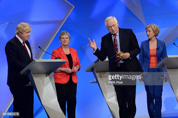 Boris Johnson Gisela Stuart Presenter David Dimbleby and Energy Minister Andrea Leadsom prepare for the EU debate at Wembley Arena on June 21 2016 in...