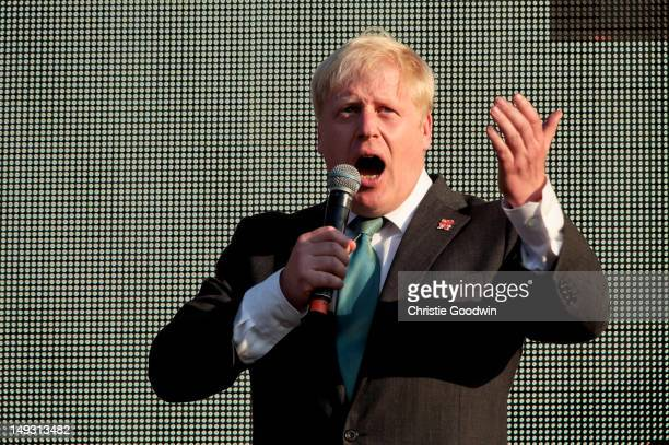 Boris Johnson Mayor of London addresses the crowd on the main stage stage during the Olympic Torch Relay CocaCola Concert at Hyde Park on July 26...