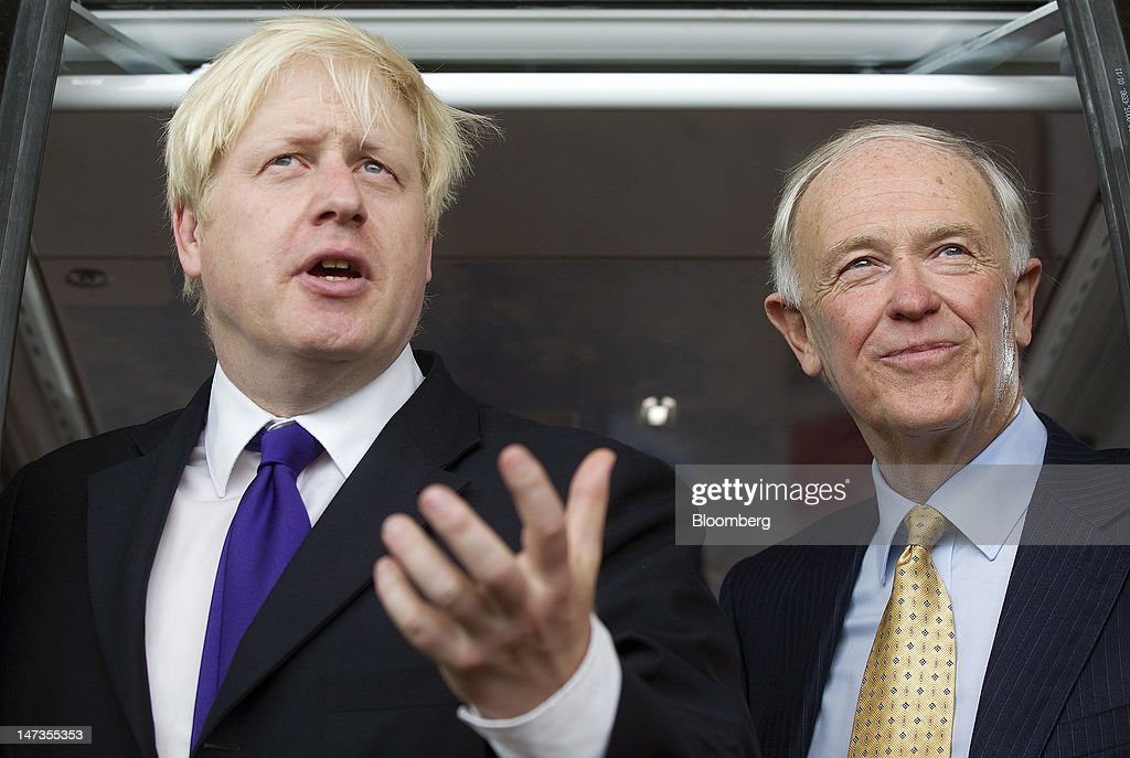 <a gi-track='captionPersonalityLinkClicked' href=/galleries/search?phrase=Boris+Johnson&family=editorial&specificpeople=209016 ng-click='$event.stopPropagation()'>Boris Johnson</a>, mayor of London, left, gestures, as he speaks with <a gi-track='captionPersonalityLinkClicked' href=/galleries/search?phrase=Tim+Clark+-+Businessman&family=editorial&specificpeople=13430624 ng-click='$event.stopPropagation()'>Tim Clark</a>, president of Emirates, during the opening of the Emirates Air Line, a cable car crossing above the River Thames, in London, U.K., on Thursday, June 28, 2012. The cable car system, operated by Emirates, will run between Greenwich Peninsula and the Royal Victoria Docks. Photographer: Simon Dawson/Bloomberg via Getty Images