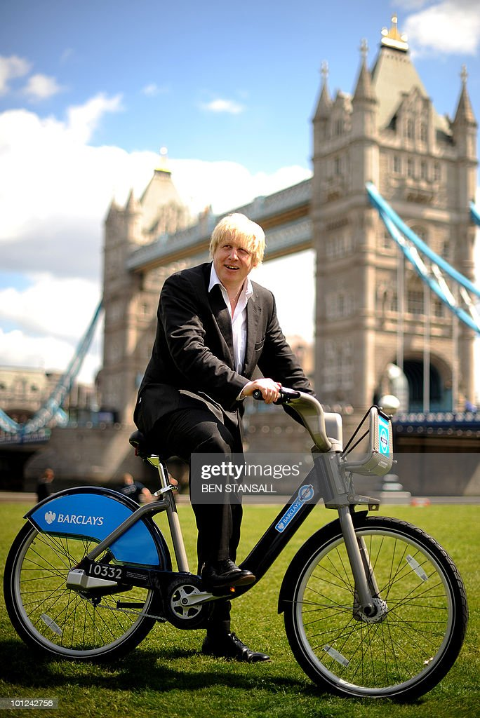 Boris Johnson, Mayor of London, poses for pictures in London, on May 28, 2010, during a photocall to promote the launch of London's cycle hire scheme to be introduced later this year. Two cycle superhighways will be launched in London on July 19 followed by the cycle hire scheme on July 30.