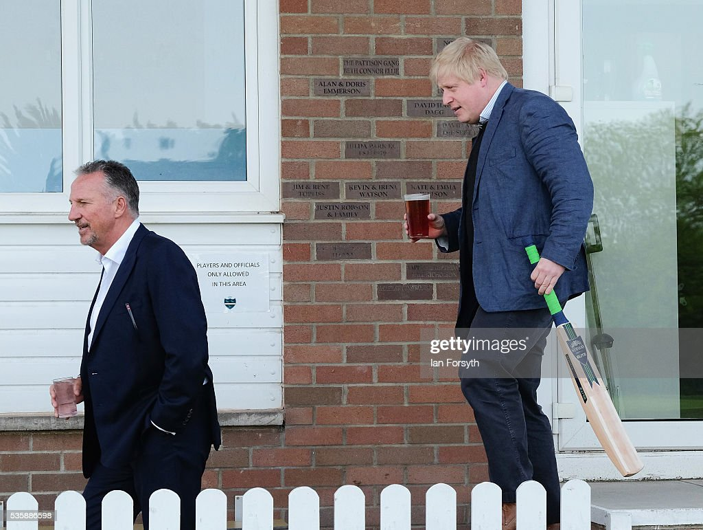 <a gi-track='captionPersonalityLinkClicked' href=/galleries/search?phrase=Boris+Johnson&family=editorial&specificpeople=209016 ng-click='$event.stopPropagation()'>Boris Johnson</a> MP (R) and former England test cricketer Sir <a gi-track='captionPersonalityLinkClicked' href=/galleries/search?phrase=Ian+Botham&family=editorial&specificpeople=207145 ng-click='$event.stopPropagation()'>Ian Botham</a> OBE visit Chester-Le-Street Cricket Club as part of the Brexit tour on May 30, 2016 in Chester-Le-Street, England. <a gi-track='captionPersonalityLinkClicked' href=/galleries/search?phrase=Boris+Johnson&family=editorial&specificpeople=209016 ng-click='$event.stopPropagation()'>Boris Johnson</a> and the Vote Leave campaign are touring the UK in their Brexit Battle Bus on a campaign hoping to persuade voters to back leaving the European Union in the June 23rd referendum. Sir <a gi-track='captionPersonalityLinkClicked' href=/galleries/search?phrase=Ian+Botham&family=editorial&specificpeople=207145 ng-click='$event.stopPropagation()'>Ian Botham</a> has backed the Brexit campaign.
