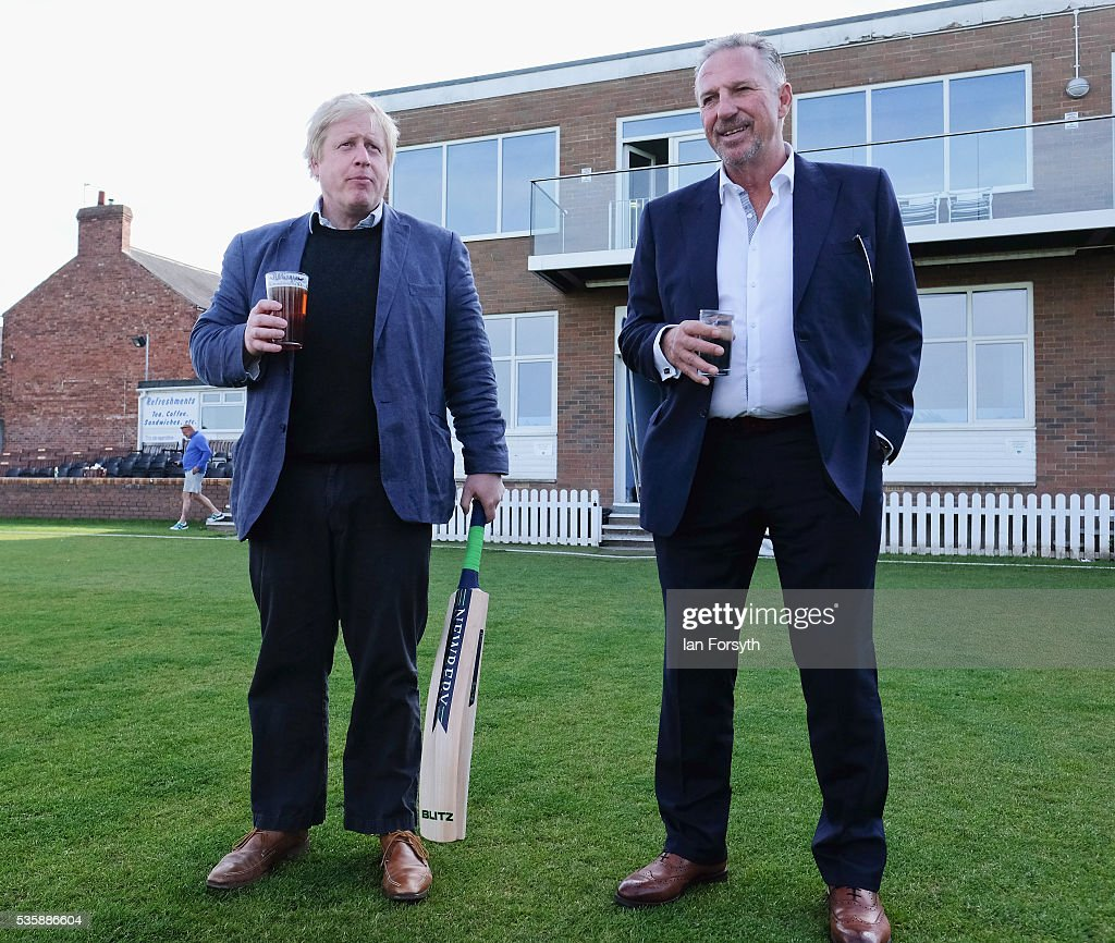 <a gi-track='captionPersonalityLinkClicked' href=/galleries/search?phrase=Boris+Johnson&family=editorial&specificpeople=209016 ng-click='$event.stopPropagation()'>Boris Johnson</a> MP and former England test cricketer Sir <a gi-track='captionPersonalityLinkClicked' href=/galleries/search?phrase=Ian+Botham&family=editorial&specificpeople=207145 ng-click='$event.stopPropagation()'>Ian Botham</a> OBE visit Chester-Le-Street Cricket Club as part of the Brexit tour on May 30, 2016 in Chester-Le-Street, England. <a gi-track='captionPersonalityLinkClicked' href=/galleries/search?phrase=Boris+Johnson&family=editorial&specificpeople=209016 ng-click='$event.stopPropagation()'>Boris Johnson</a> and the Vote Leave campaign are touring the UK in their Brexit Battle Bus on a campaign hoping to persuade voters to back leaving the European Union in the June 23rd referendum. Sir <a gi-track='captionPersonalityLinkClicked' href=/galleries/search?phrase=Ian+Botham&family=editorial&specificpeople=207145 ng-click='$event.stopPropagation()'>Ian Botham</a> has backed the Brexit campaign.