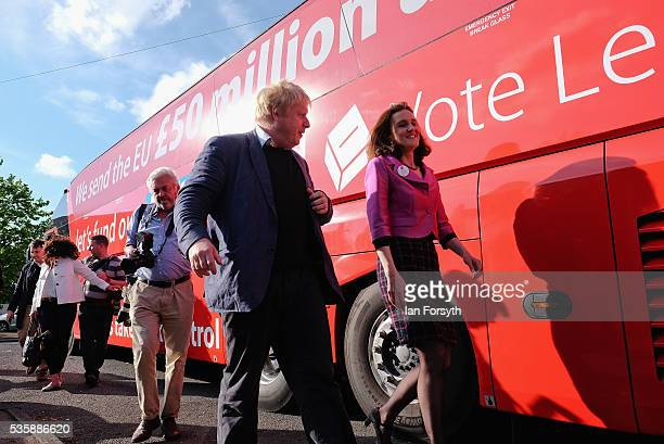 Boris Johnson MP and Theresa Villiers MP visit ChesterLeStreet Cricket Club as part of the Brexit tour on May 30 2016 in ChesterLeStreet England...