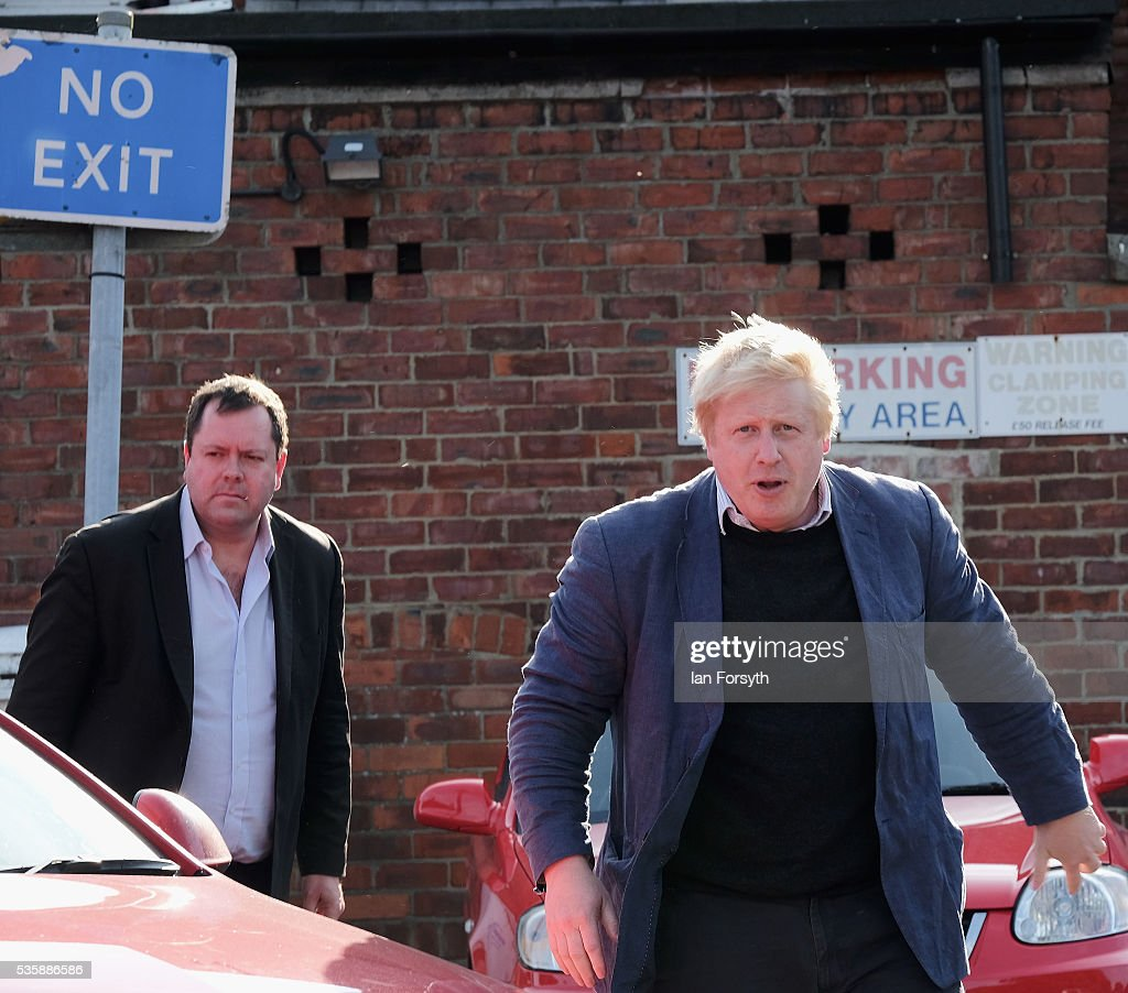 <a gi-track='captionPersonalityLinkClicked' href=/galleries/search?phrase=Boris+Johnson&family=editorial&specificpeople=209016 ng-click='$event.stopPropagation()'>Boris Johnson</a> MP arrives for a visit to Chester-Le-Street Cricket Club as part of the Brexit tour on May 30, 2016 in Chester-Le-Street, England. <a gi-track='captionPersonalityLinkClicked' href=/galleries/search?phrase=Boris+Johnson&family=editorial&specificpeople=209016 ng-click='$event.stopPropagation()'>Boris Johnson</a> and the Vote Leave campaign are touring the UK in their Brexit Battle Bus on a campaign hoping to persuade voters to back leaving the European Union in the June 23rd referendum. Sir Ian Botham has backed the Brexit campaign.
