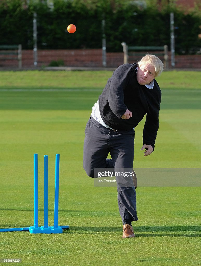 Boris Johnson MP bowls a cricket ball during a visit to Chester-Le-Street Cricket Club as part of the Brexit tour on May 30, 2016 in Chester-Le-Street, England. Boris Johnson and the Vote Leave campaign are touring the UK in their Brexit Battle Bus on a campaign hoping to persuade voters to back leaving the European Union in the June 23rd referendum.