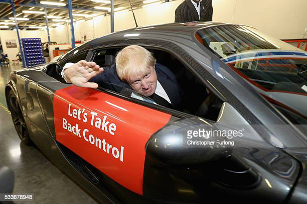 Boris Johnson MP drives a sports car during a visit to Ginetta Cars Ltd during the Brexit Battle Bus tour in Yorkshire on May 23 2016 in Leeds...