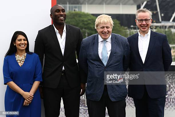 Boris Johnson MP Justice Secretary Michael Gove Employment Secretary Priti Patel and former England footballer Sol Campbell pose for a photograph...