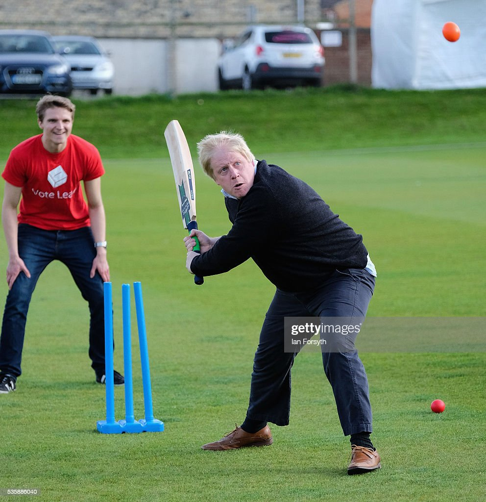 <a gi-track='captionPersonalityLinkClicked' href=/galleries/search?phrase=Boris+Johnson&family=editorial&specificpeople=209016 ng-click='$event.stopPropagation()'>Boris Johnson</a> MP takes to the wicket during a visit to Chester-Le-Street Cricket Club as part of the Brexit tour on May 30, 2016 in Chester-Le-Street, England. <a gi-track='captionPersonalityLinkClicked' href=/galleries/search?phrase=Boris+Johnson&family=editorial&specificpeople=209016 ng-click='$event.stopPropagation()'>Boris Johnson</a> and the Vote Leave campaign are touring the UK in their Brexit Battle Bus on a campaign hoping to persuade voters to back leaving the European Union in the June 23rd referendum.