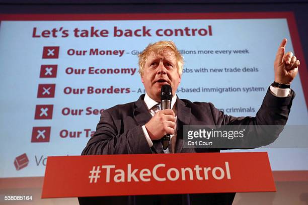Boris Johnson MP talks to supporters during a Vote Leave rally on June 4 2016 in London England Boris Johnson and the Vote Leave campaign are touring...