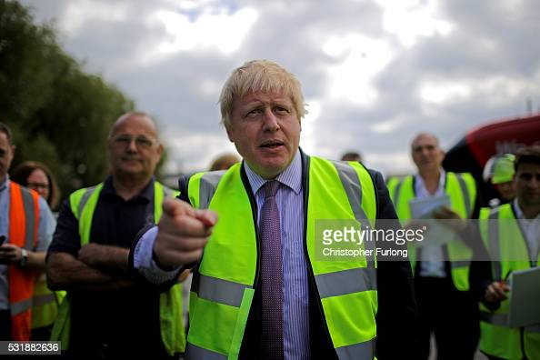 Boris Johnson MP tours the BMI Group Kingsilver Refinery in Hixon Staffordshire during the Vote Leave Brexit Battle Bus tour on May 17 20016 in...