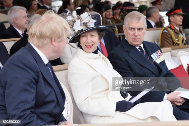 Boris Johnson Princess Anne Princess Royal and Prince Andrew Duke of York during the dedication and unveiling of The Iraq and Afghanistan memorial on...