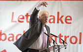 Boris Johnson speaks as he visits Reidsteel a Christchurch company backing the Leave Vote on the 23rd June 2016 on May 12 2016 in Christchurch Dorset...