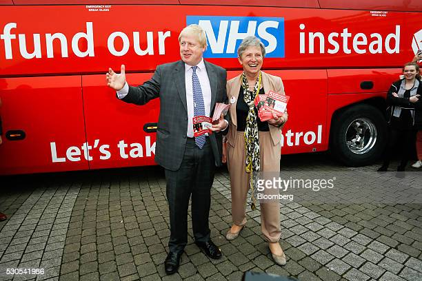 Boris Johnson the former mayor of London and Gisela Stuart lawmaker for the Labour Party pose for photographers during the first day of a nationwide...