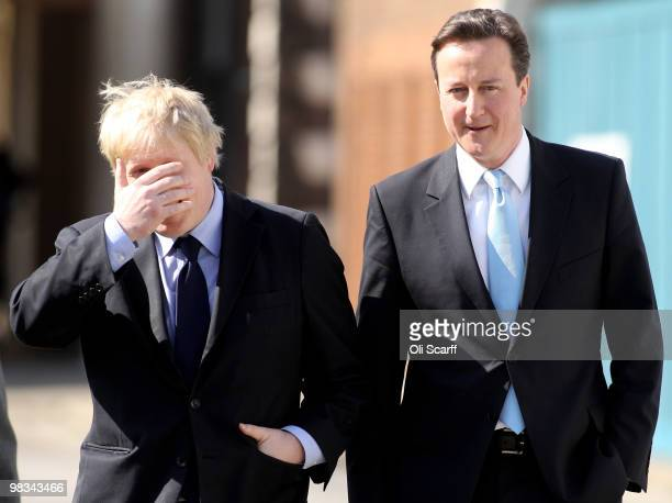 Boris Johnson the Mayor of London and David Cameron the Conservative party leader leave the Royal Hospital Chelsea after a visit to the home of the...