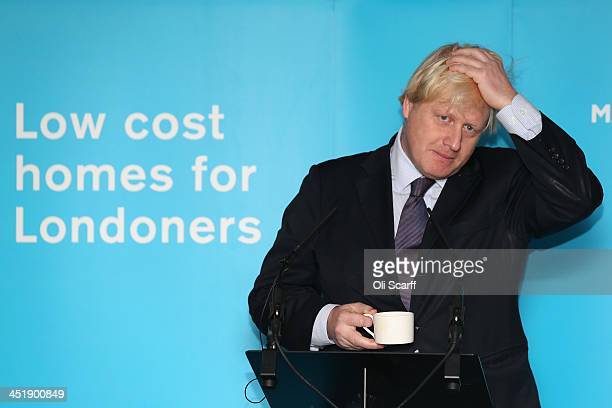Boris Johnson the Mayor of London delivers a speech after pouring concrete at the construction site of the 'Greenwich Square' housing development on...