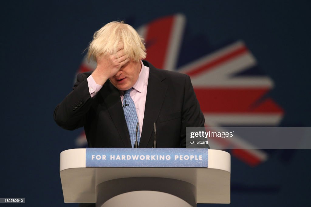 Boris Johnson the Mayor of London delivers his speech in the Main Hall of Manchester Central on the third day and penultimate day of the Conservative...