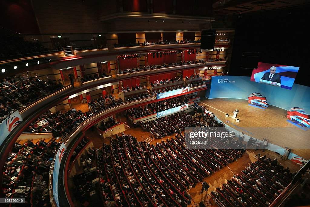 <a gi-track='captionPersonalityLinkClicked' href=/galleries/search?phrase=Boris+Johnson&family=editorial&specificpeople=209016 ng-click='$event.stopPropagation()'>Boris Johnson</a>, the Mayor of London, delivers his speech to the Conservative party conference in the International Convention Centre on October 9, 2012 in Birmingham, England. Today's penultimate day of the annual, four-day Conservative party conference features speeches from Cabinet ministers and the Mayor of London.