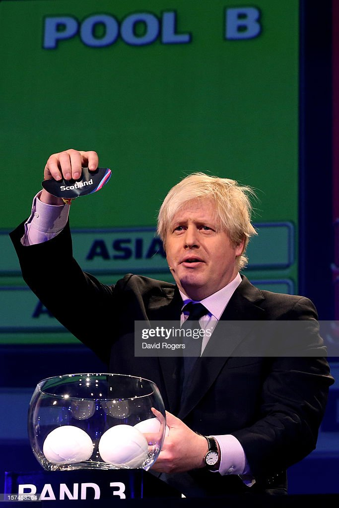 Boris Johnson the Mayor of London draws Scotland during the IRB Rugby World Cup 2015 pool allocation draw at the Tate Modern on December 3, 2012 in London, England.