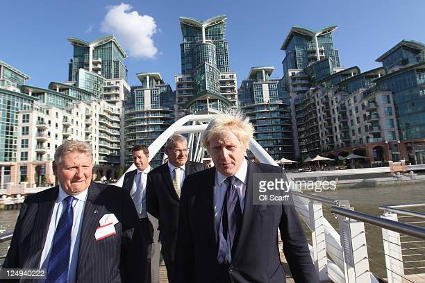 Boris Johnson the Mayor of London is joined by Mark Griffiths the Director of St George South London and Tony Pidgley the cofounder and Group...