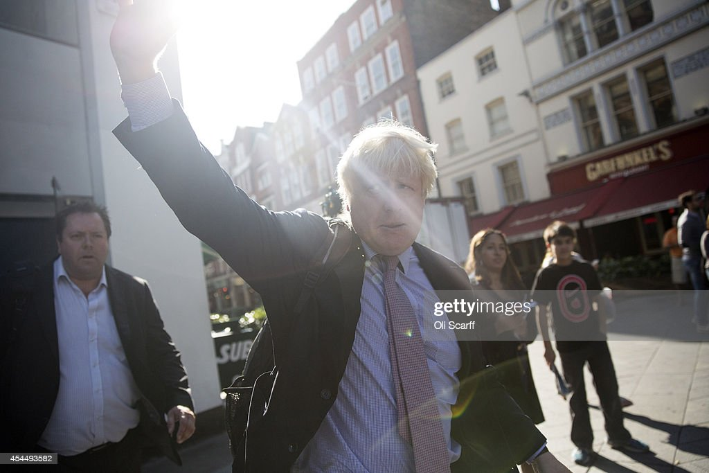 Boris Johnson, the Mayor of London, prepares to be interviewed in Leicester Square following his regular 'Ask Boris' phone-in show on LBC talk radio on September 2, 2014 in London, England. Plans for a major new airport to be constructed on an island in the Thames estuary, which have been championed by Mr Johnson and dubbed 'Boris Island', were rejected in a report by the Airports Commission.