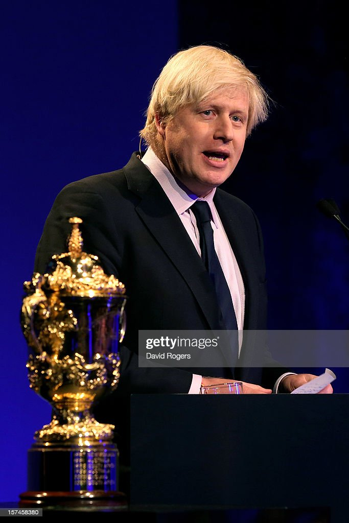 Boris Johnson the Mayor of London speaks prior to during the IRB Rugby World Cup 2015 pool allocation draw at the Tate Modern on December 3, 2012 in London, England.