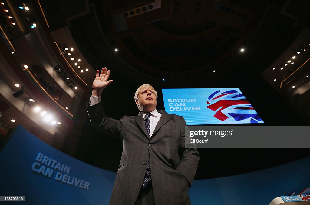 <a gi-track='captionPersonalityLinkClicked' href=/galleries/search?phrase=Boris+Johnson&family=editorial&specificpeople=209016 ng-click='$event.stopPropagation()'>Boris Johnson</a>, the Mayor of London, waves to delegates following his speech to the Conservative party conference in the International Convention Centre on October 9, 2012 in Birmingham, England. Today's penultimate day of the annual, four-day Conservative party conference features speeches from Cabinet ministers and the Mayor of London.