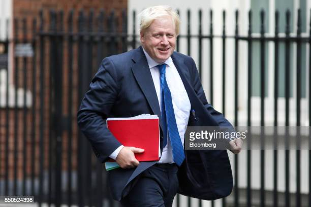 Boris Johnson UK foreign secretary arrives for a special cabinet meeting at number 10 Downing Street in London UK on Thursday Sept 21 2017 UK Prime...