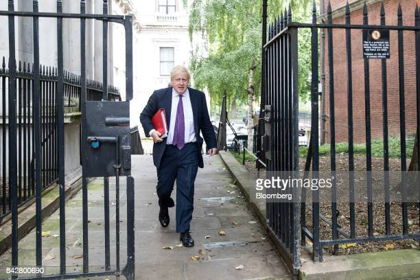 Boris Johnson UK foreign secretary arrives for a weekly meeting of cabinet ministers at number 10 Downing Street in London UK on Tuesday Sept 5 2017...