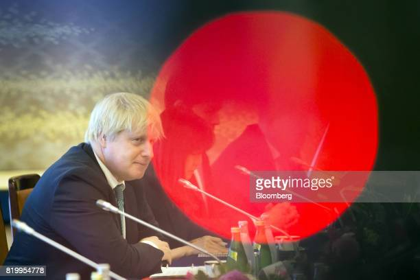 Boris Johnson UK foreign secretary attends a meeting with Fumio Kishida Japan's foreign minister not pictured during a meeting in Tokyo Japan on...