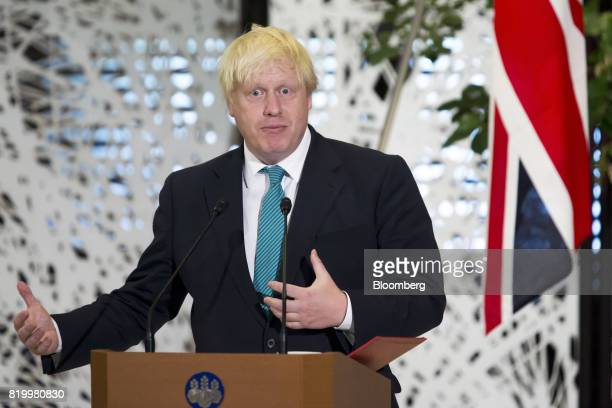 Boris Johnson UK foreign secretary delivers a joint statement with Fumio Kishida Japan's foreign minister not pictured after their meeting in Tokyo...