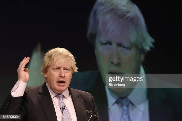 Boris Johnson UK foreign secretary gestures as he speaks during the 2017 British Chamber of Commerce annual conference in London UK on Tuesday Feb 28...