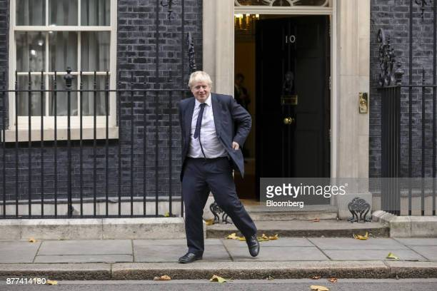 Boris Johnson UK foreign secretary leaves number 10 Downing Street following a prebudget cabinet meeting in London UK on Wednesday Nov 22 2017 UK...