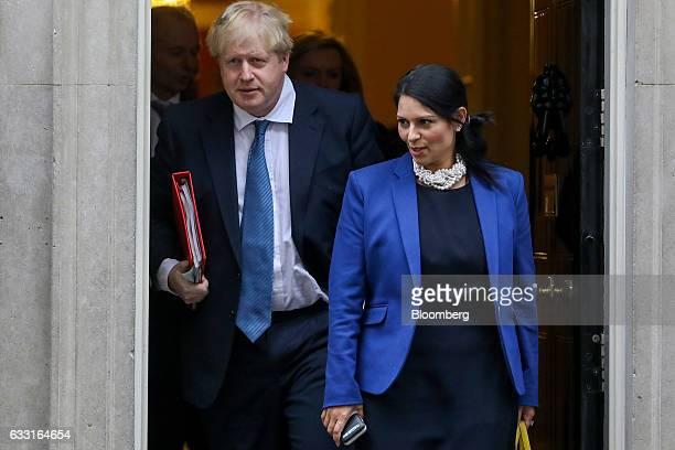 Boris Johnson UK foreign secretary left leaves alongside Priti Patel UK international development secretary following a weekly cabinet meeting at 10...