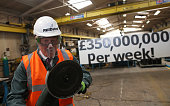 Boris Johnson visits Reidsteel a Christchurch company backing the Leave Vote on the 23rd June 2016 on May 12 2016 in Christchurch Dorset The Vote...