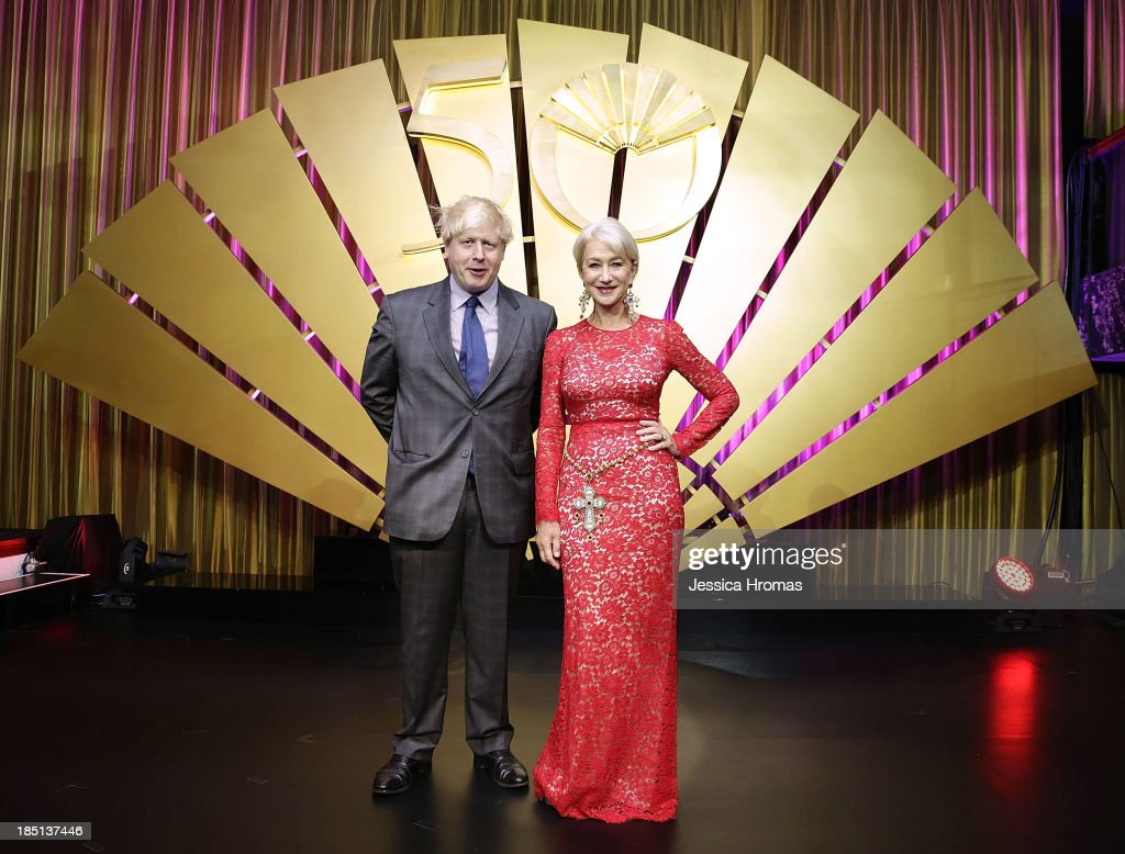 Boris Johson and Dame <a gi-track='captionPersonalityLinkClicked' href=/galleries/search?phrase=Helen+Mirren&family=editorial&specificpeople=201576 ng-click='$event.stopPropagation()'>Helen Mirren</a> at the Mandarin Oriental Hong Kong 50th Anniversary Gala on October 17, 2013 in Hong Kong.